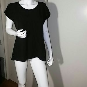 NWT NY Collection Black Blouse w/Lace Back